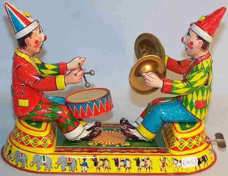 nbn nuernberger blechspielwaren spielzeug 2 musik clowns mit uhrwerk