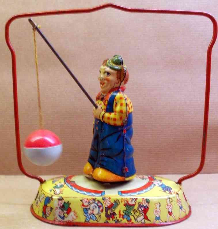 nbn nuernberger blechspielwaren tin toy clown with ball