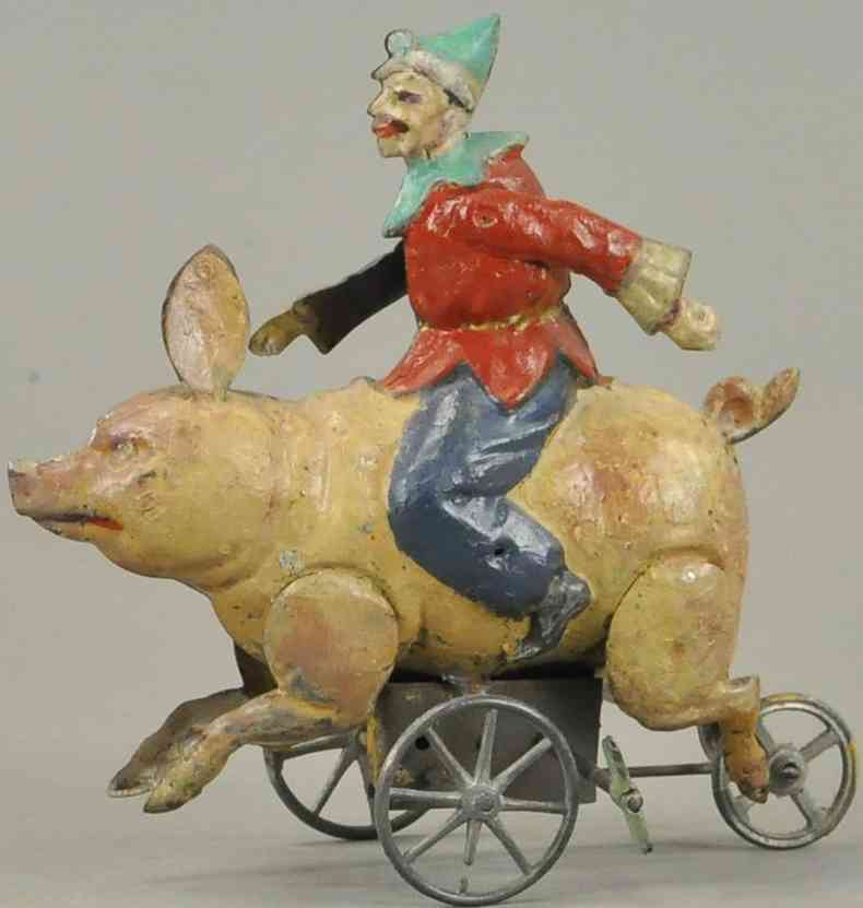 nbn nuernberger blechspielwaren 340 clown reitet ein schwein