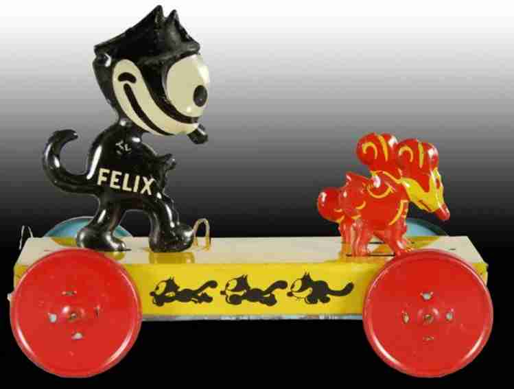 nifty manufacturing company tin felix the cat chasing mice pulloty