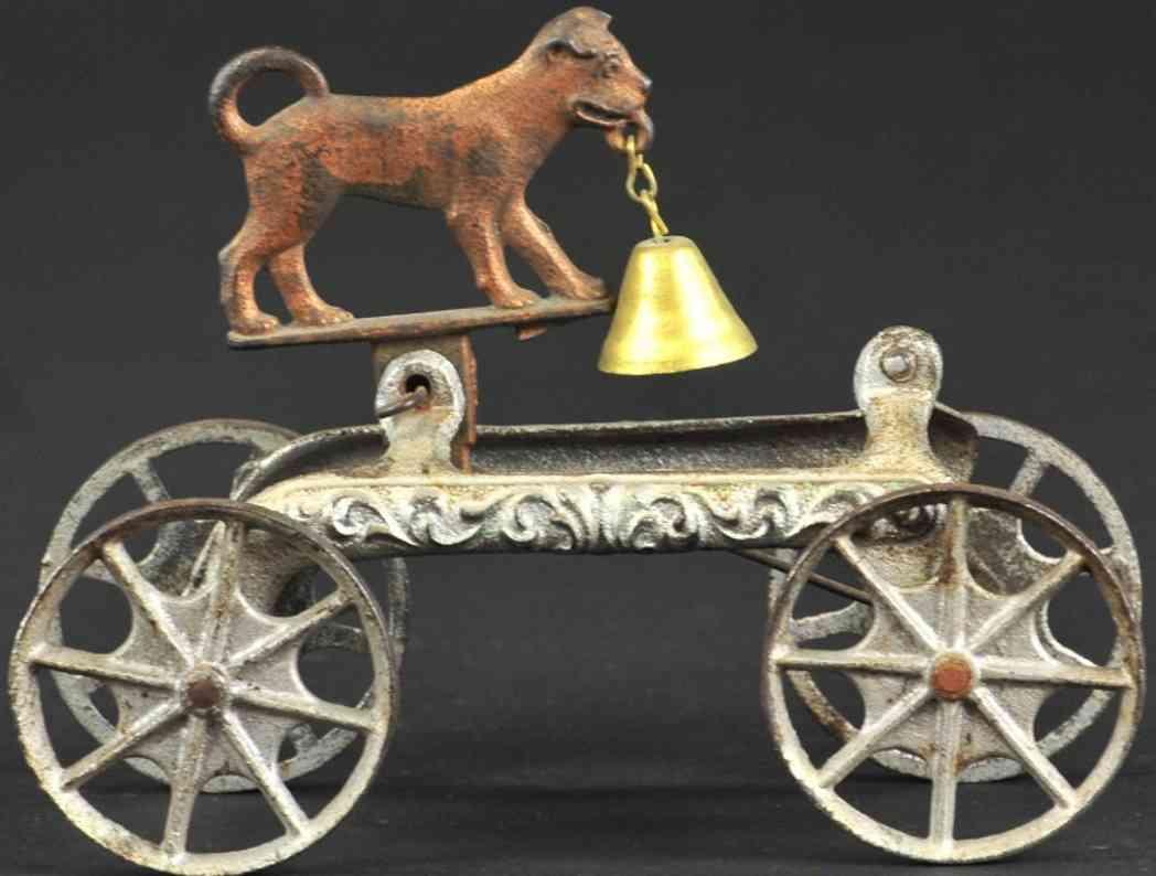 n.n. hill brass co gusseisen hund als glockenspielzeug  silbern