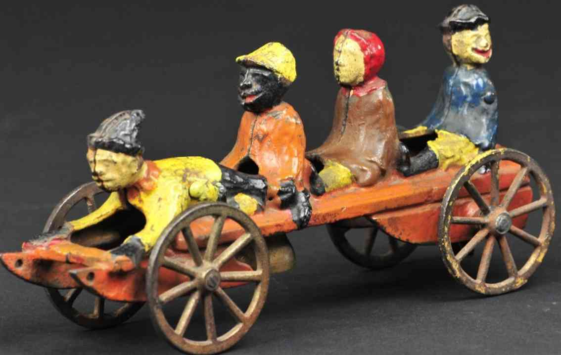 n.n. hill brass co glockenspielzeug gusseisen schlitten mit vier kindern