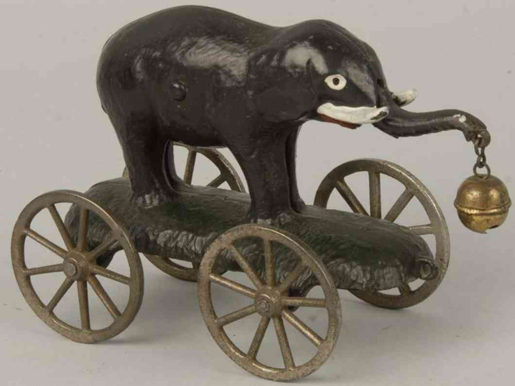 n.n. hill brass co cast iron grey elephant bell toy