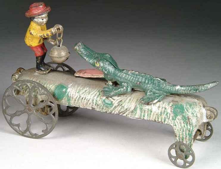 n.n. hill brass co spielzeug gusseisen krokodil mit figur glocke