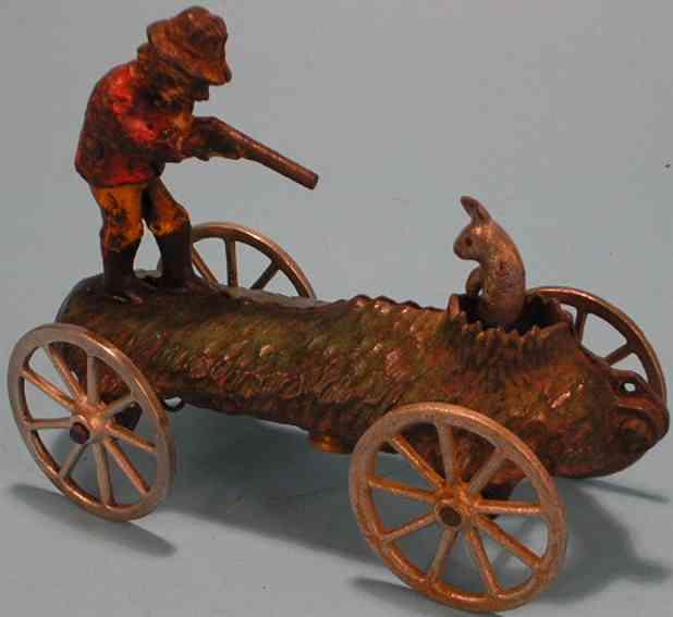 n.n. hill brass co spielzeug gusseisen figur jaeger mit hase auf plattform