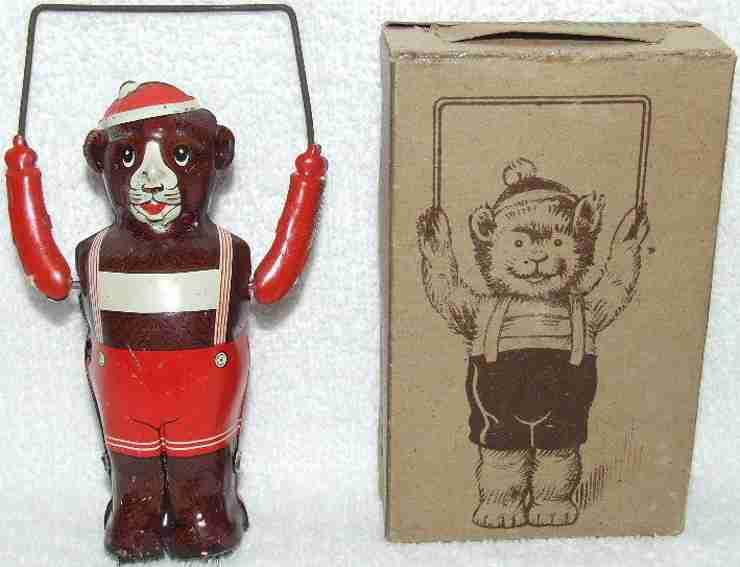 niedermeier philipp blech spielzeug mechanischer teddybaer sprungseil