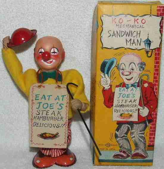 nomura toys blech spielzeug clown plakattraeger eat at joe's steak