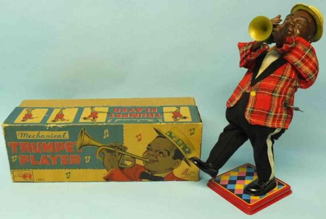 nomura toys blech spielzeug louis armstrong trompetenspieler uhrwerk