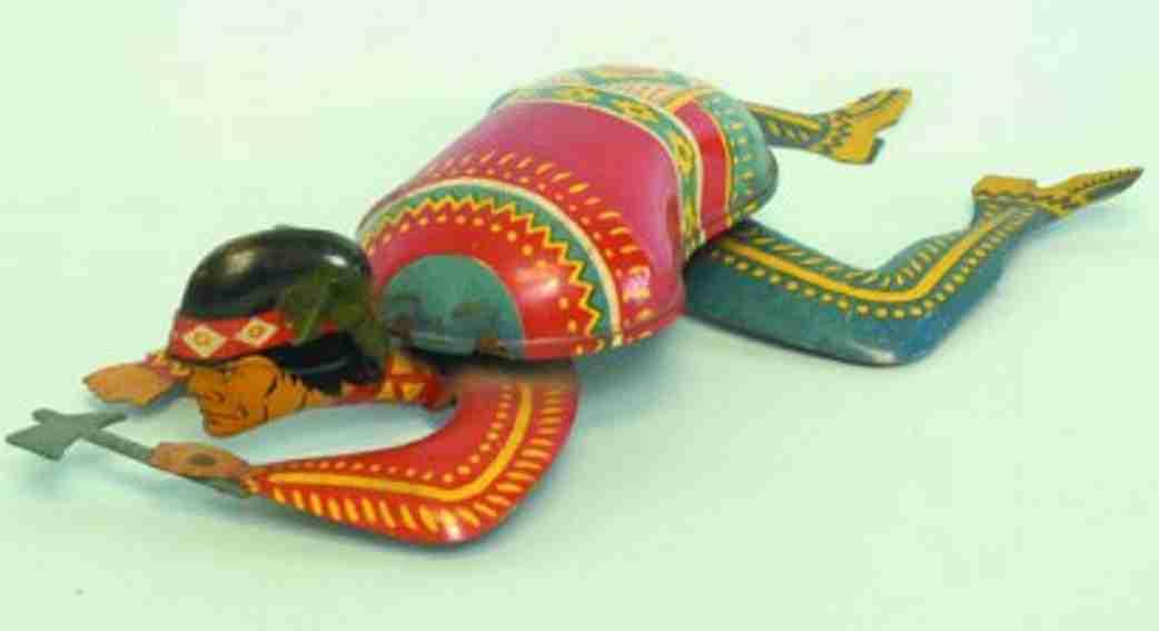 ohio art tin toy indian cravlingclockwork tomahaw