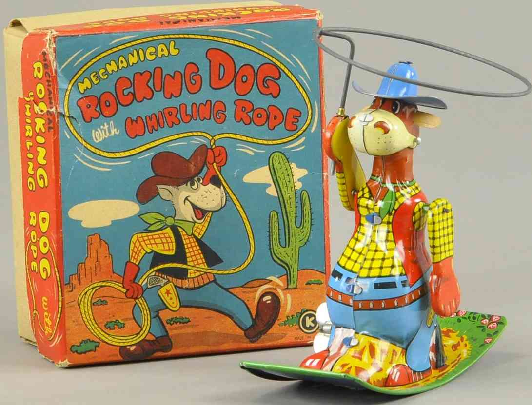 ohta kasaburo co tin toy boxed rocking dog als cowboy with whirling rope