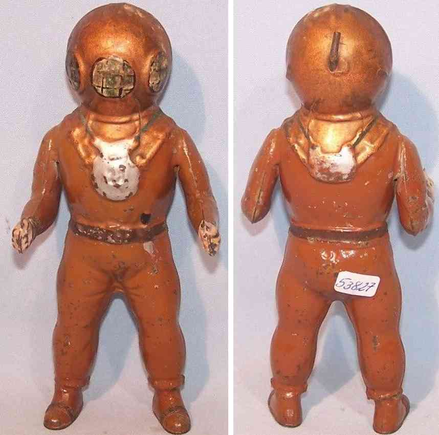 plank ernst 470 tin toy diver figure made of injection moulding copper
