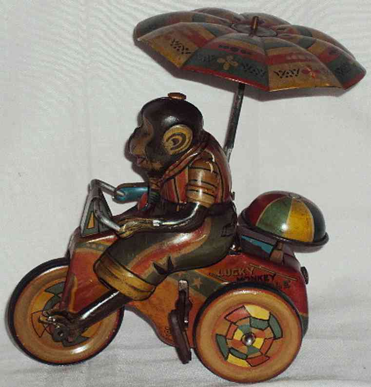 sato toys tin toy monkey on cycle lithographed with wind-up mechanism, makers