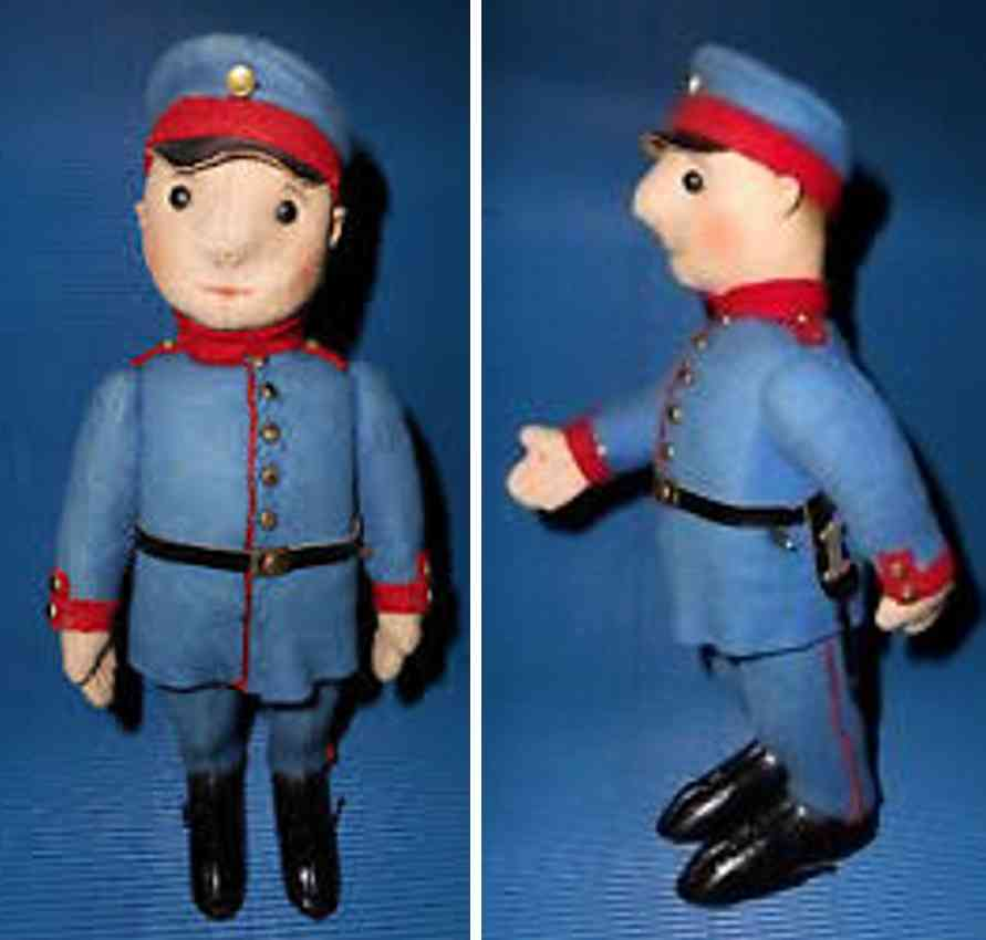 schuco 185f tin toy french soldier automato clockwork