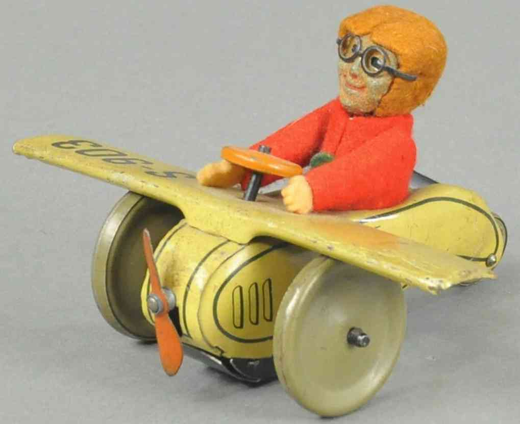 schuco 901 s-903 blech filz spielzeug roller flugzeug mit pilot