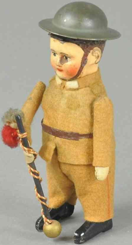 schuco 991/9 blech spielzeug soldat faschist als tambourmajor uhrwerk filz