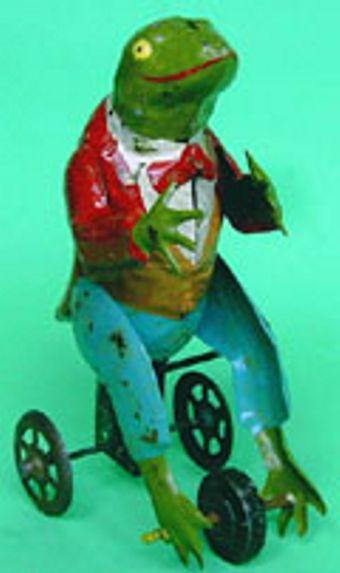 schweiger georg blech spielzeug frosch auf dreirad uhrwerk