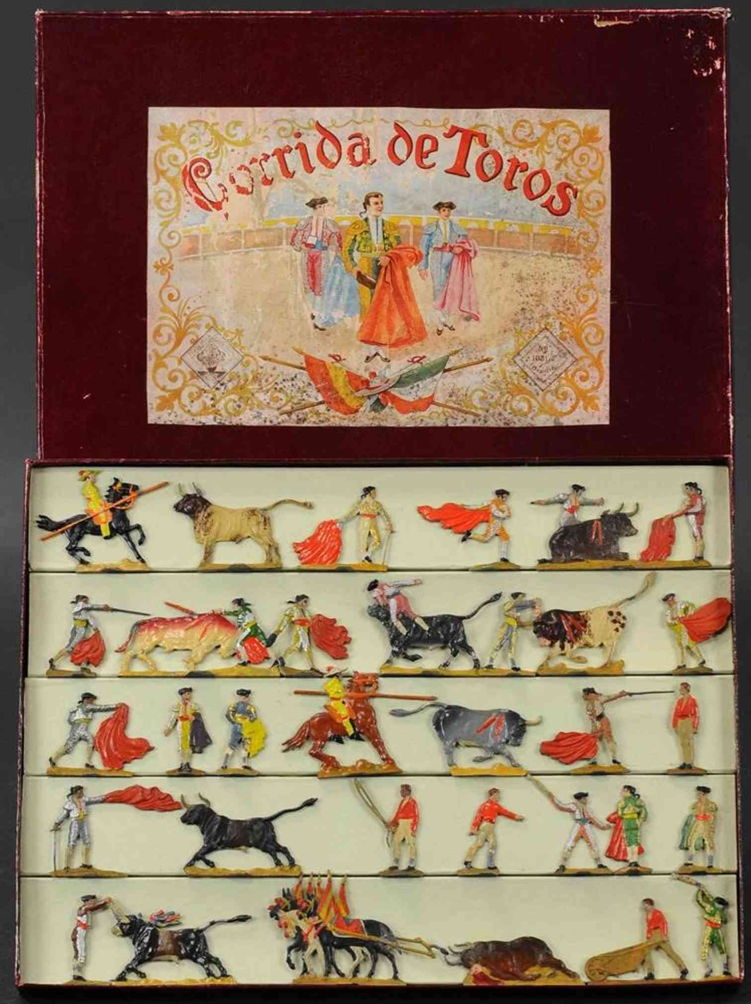 spenkuch gs 1081 tin toy corrrida de toros grand bullfight matadors picadors