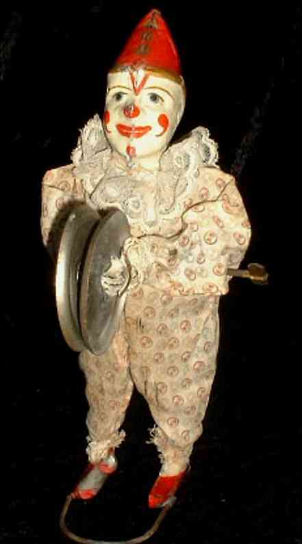 staudt leonhard 3290 tin toy music clown with cymbals and clockwork