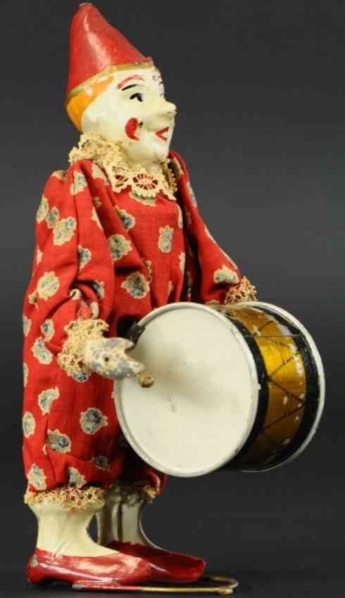 staudt leonhard 3222 tin toy clown with drum clockwork