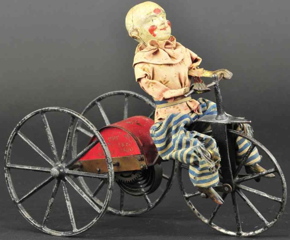 stevens & brown blech spielzeug clown auf dreirad