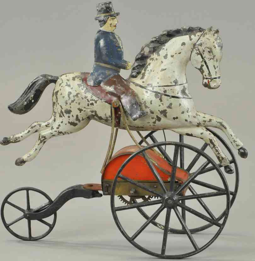 stevens & brown blech spielzeug reiter auf pferd mit uhrwerk