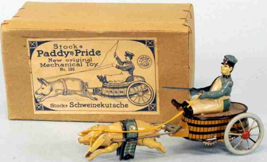stock walter 130 tin toy butcher on barrel cart paddy the pig spoke wheels