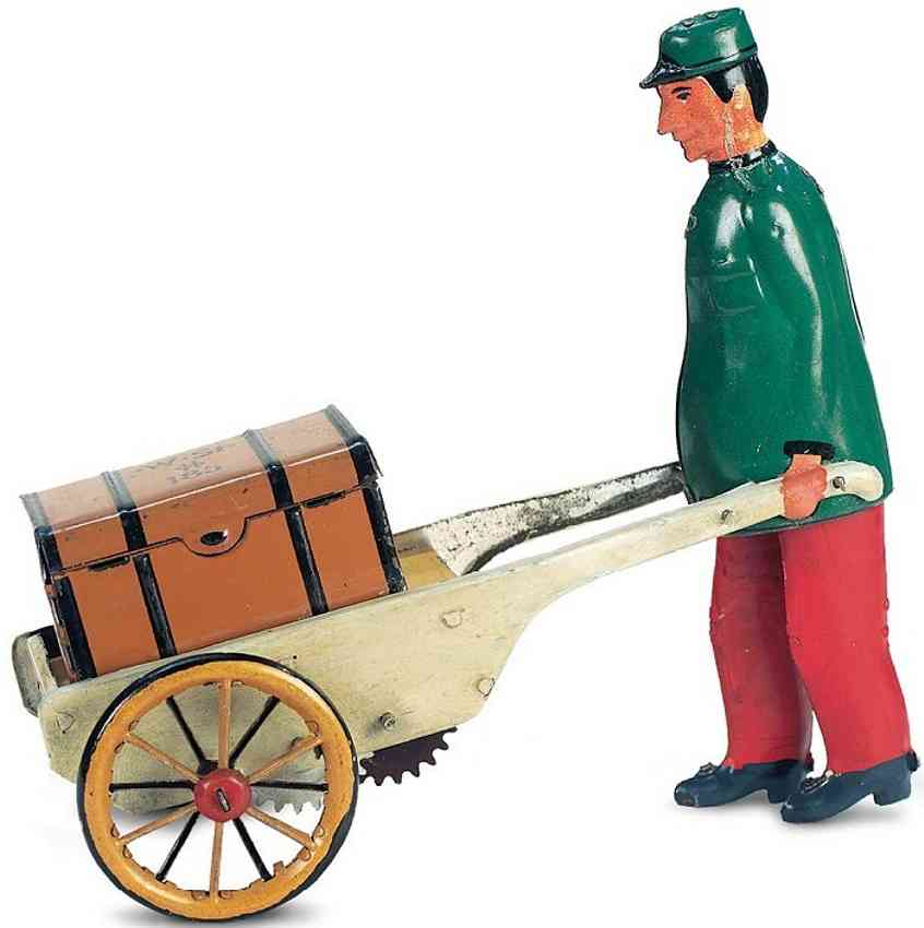 stock walter 185 tin toy baggage porter green trousers red