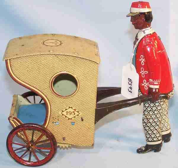 stock walter 195 tin toy rollo chair black man borad walk suit red