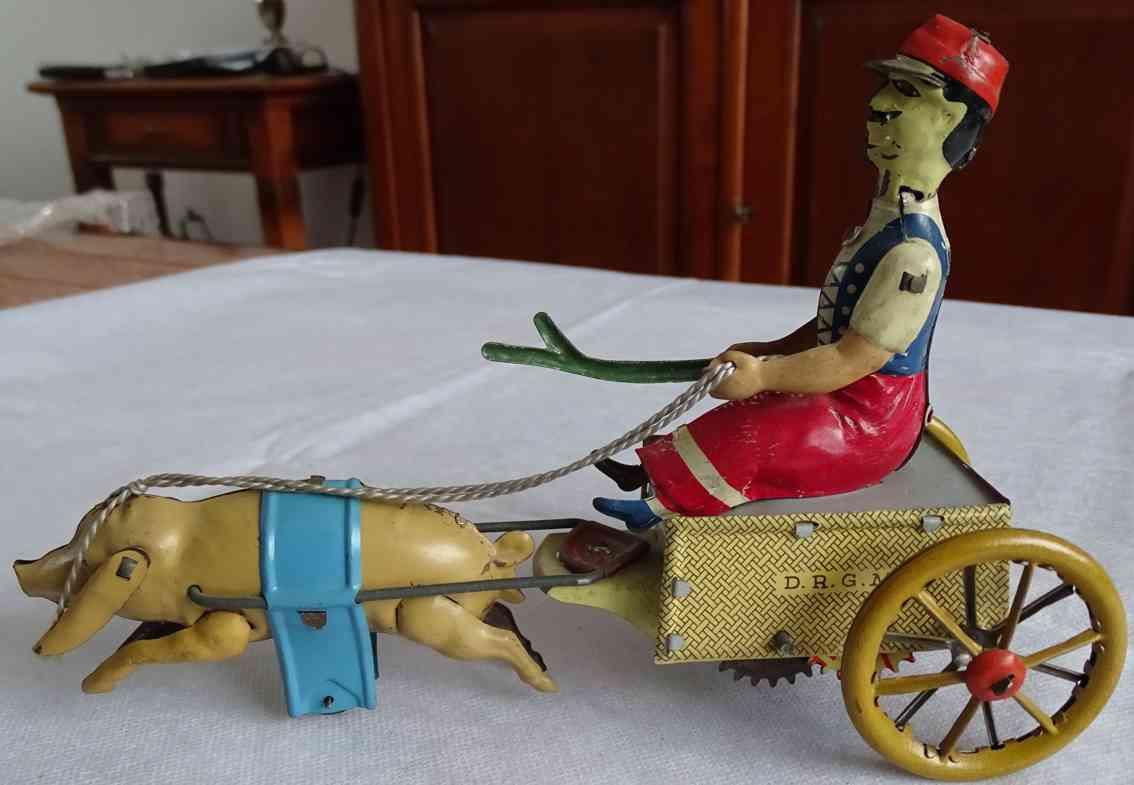 stock walter tin toy transvestite servant with pig