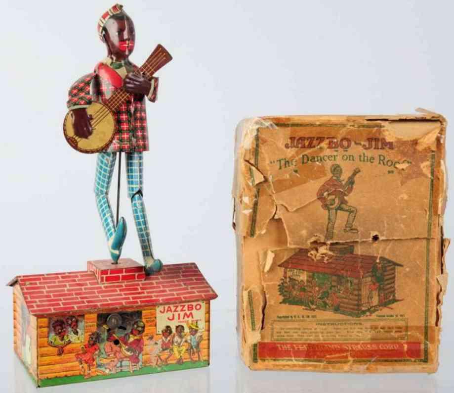 strauss 60 jazzbo-jim roof dancer wind-up tin toy