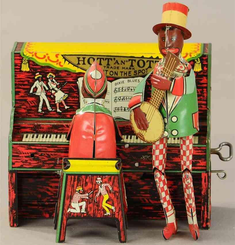 strauss 95 tin toy hott & tott banjo piano player