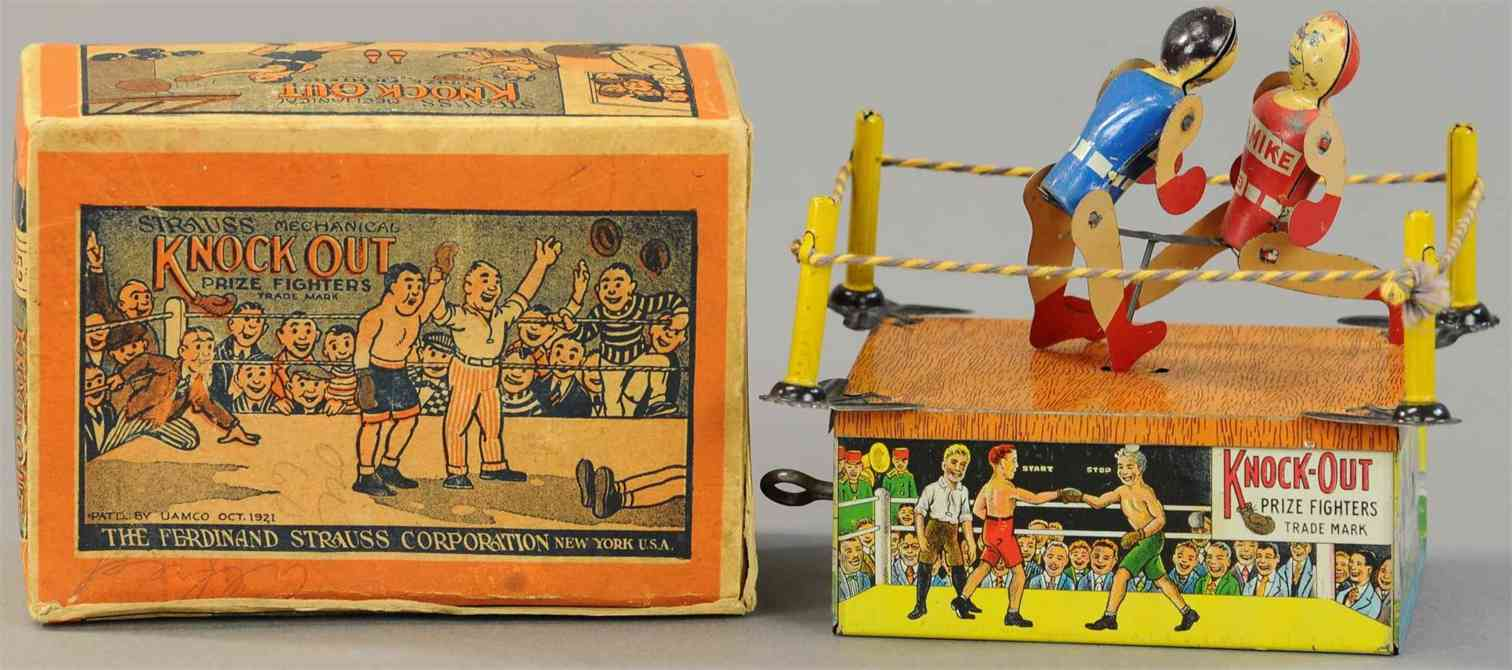 strauss ferdinand 52 blech spielzeug knock-out boxer uhrwerk red mike battling joe