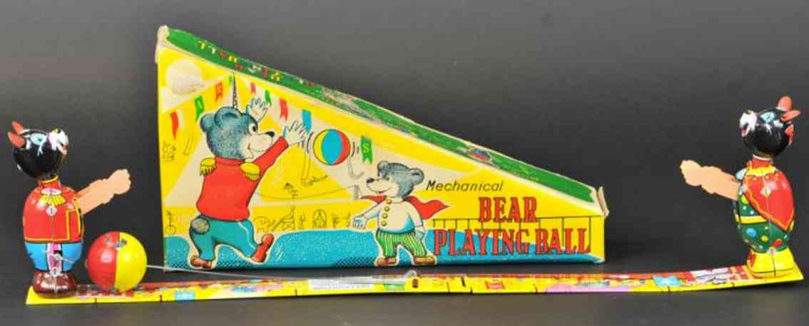 tps tin wind-up toy bears playing ball