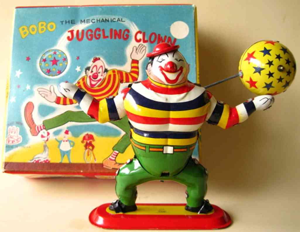 tps tin toy bobo the juggling clown