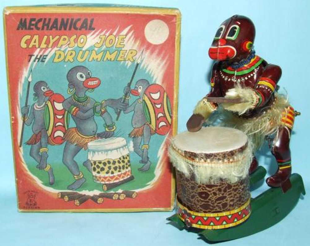 tps tin windup toy calypso joe african drummer