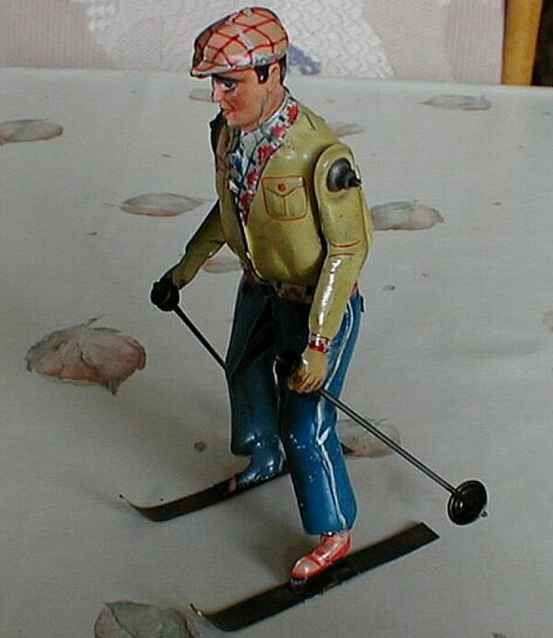 technofix 206 blech spielzeug skiläufer mit uhrwerk auf dem bild fehlen die schwimmer an d