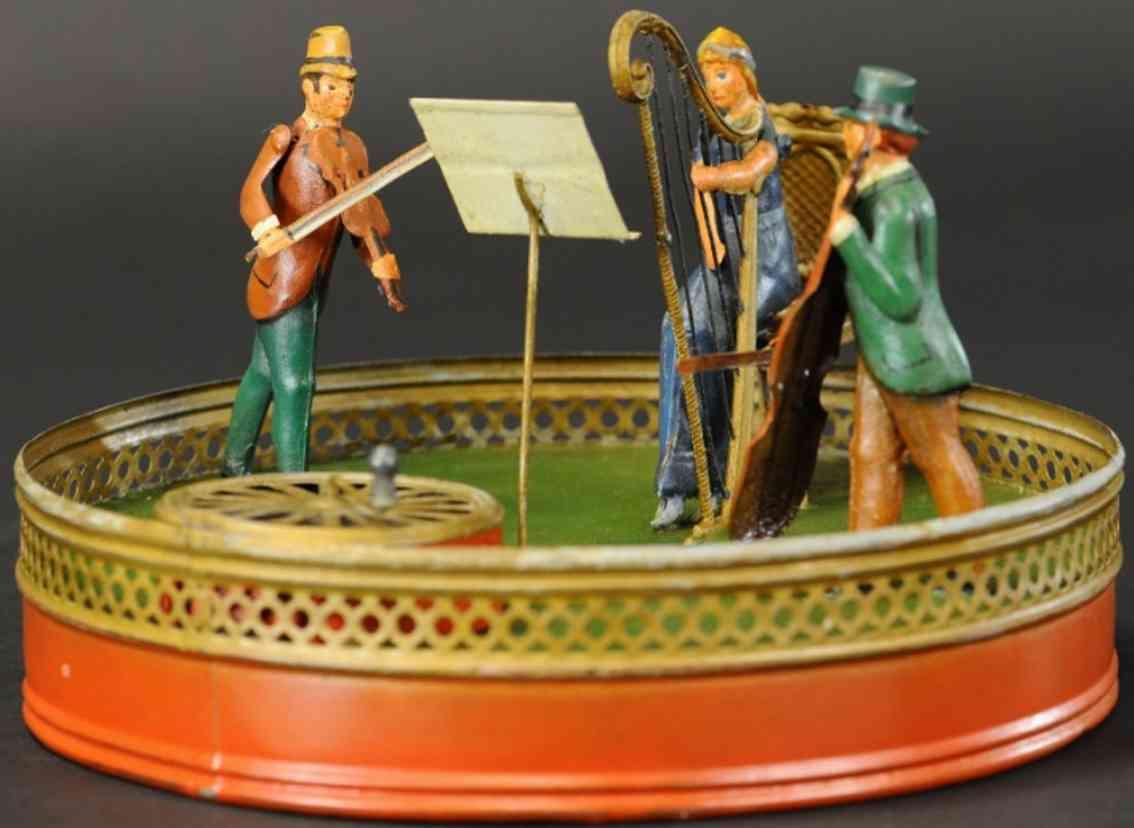 technofix blech spielzeug drei musiker violine harfe bass