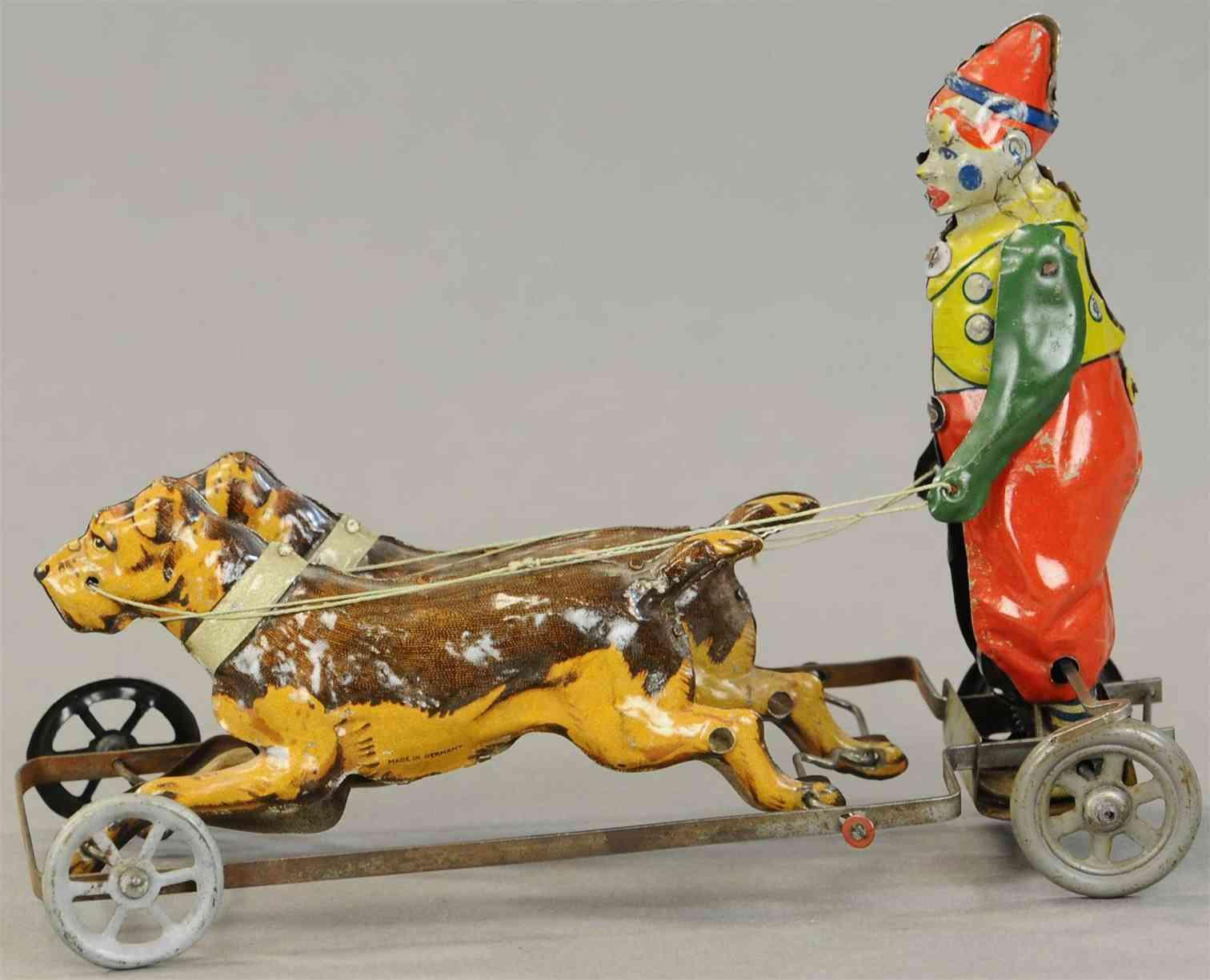 tippco blech spielzeug clown mit hund und uhrwerkantrieb