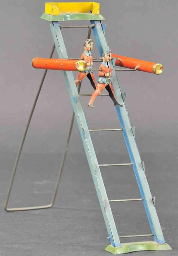 tin toy acrobats on ladder as gravity toy