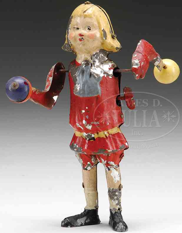 tin toy buster brown windup toy ball