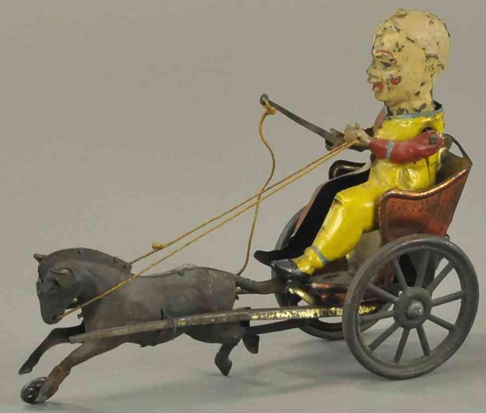 blech spielzeug clown in kutsche gezogen von einem pferd