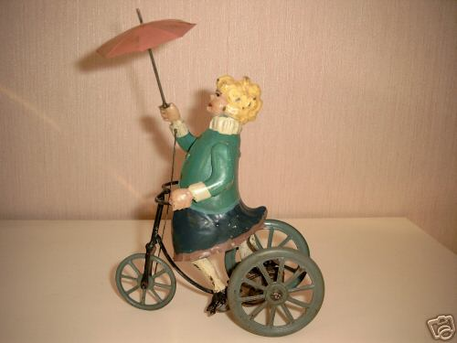 elegant lady on a tricycle