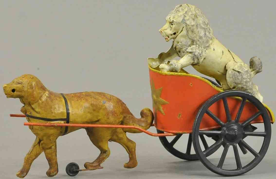 blech spielzeug hund zieht einen pudel im streitwagen