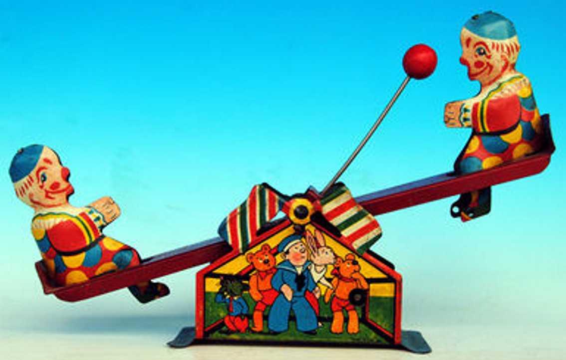 unknown blech spielzeug clown rocko 2 clowns auf wippe die mit einem ball spielen; englisc