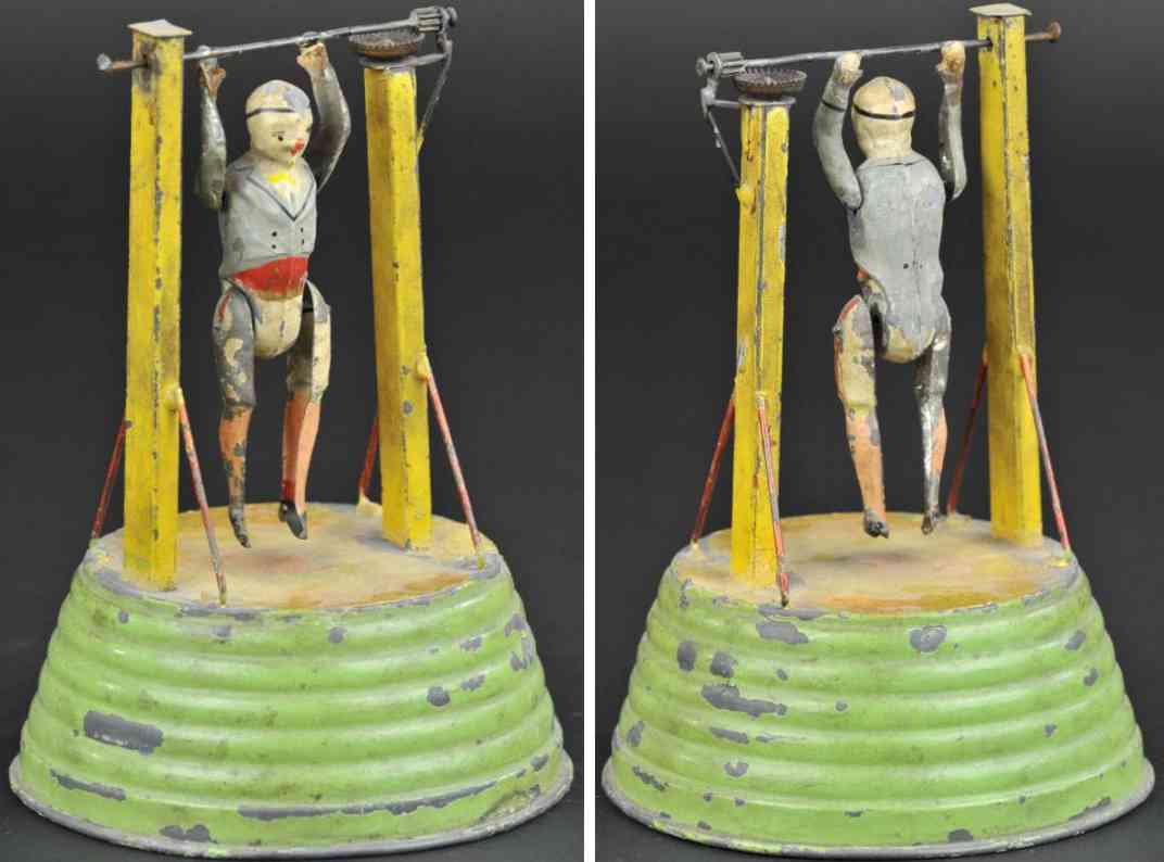 tin toy acrobat clockwork round base