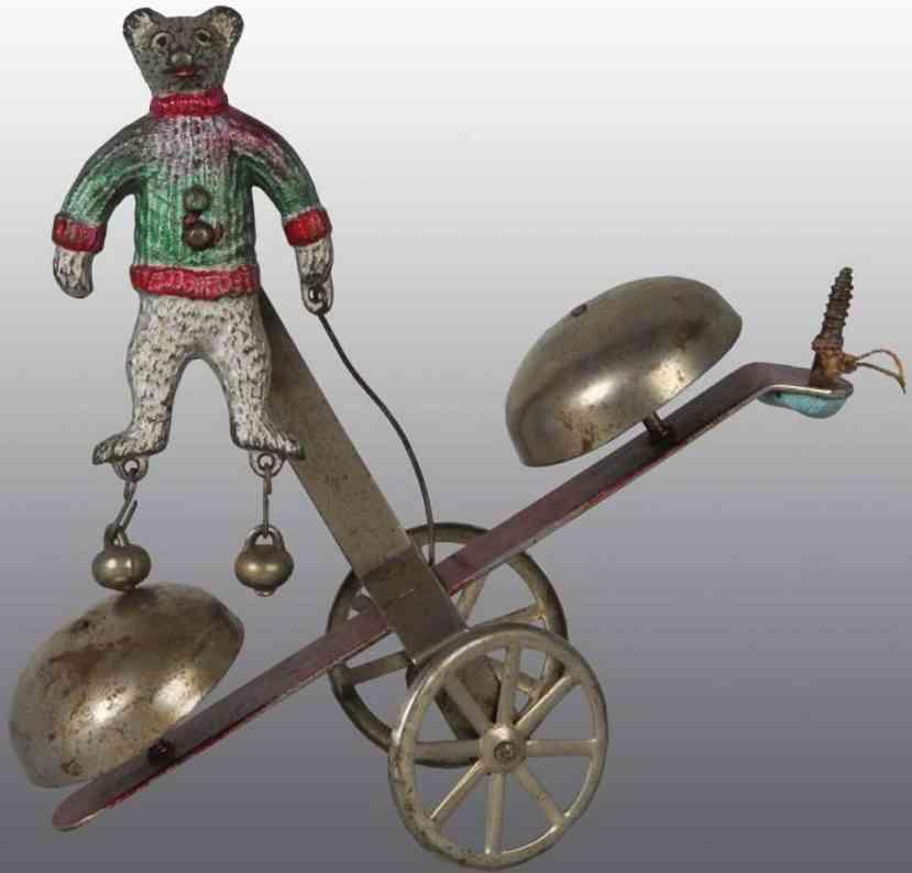 tin iron and tin bear bell toy