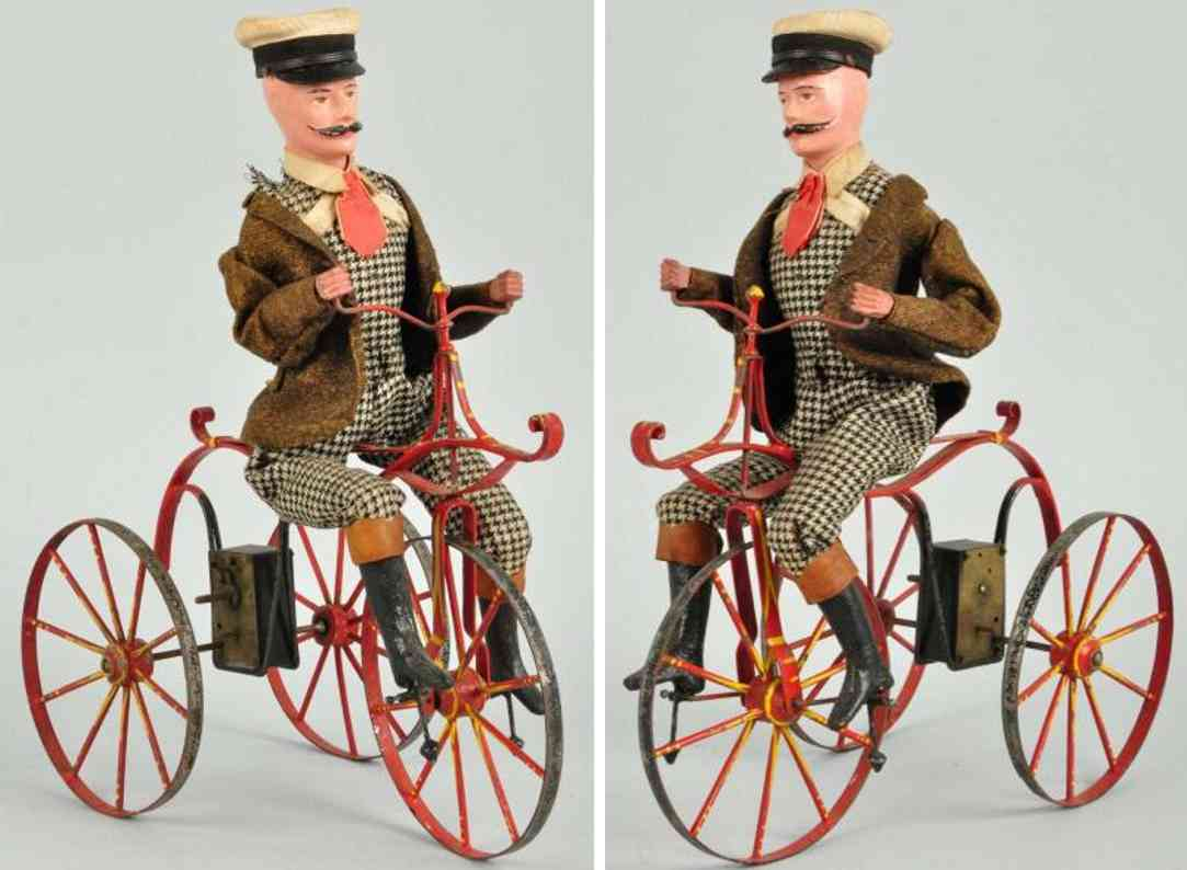 french tin toy early tin bicycle clockwork toy