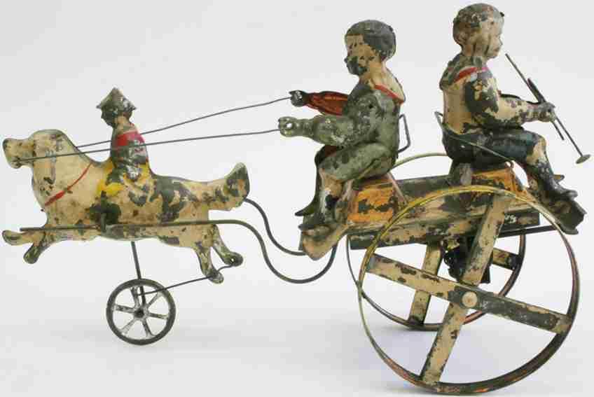 2 Jungen auf Kutsche gezogen von Junge auf Hund