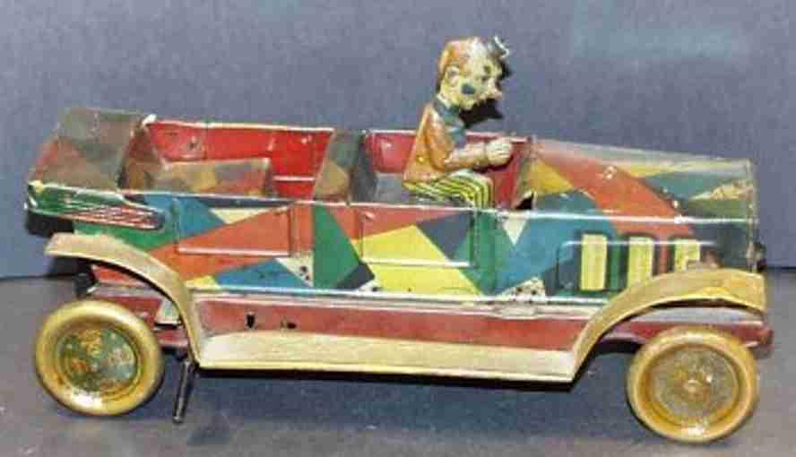 Clown-Auto mit Uhrwerk und Fahrer