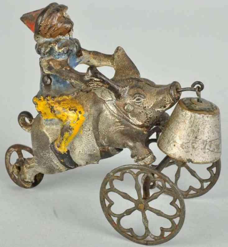 Cast iron clown riding pig bell toy
